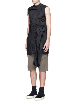 Figure View - Click To Enlarge - Rick Owens DRKSHDW - 'Spliced' ruffle hem crinkle nylon sleeveless top