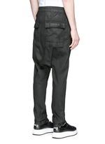 Drop crotch waxed drawstring pants