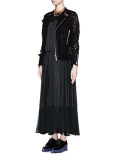 SACAILace yoke drawstring pleat maxi dress