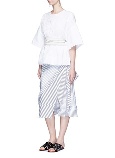 CÉDRIC CHARLIER Frayed stripe layer A-line skirt