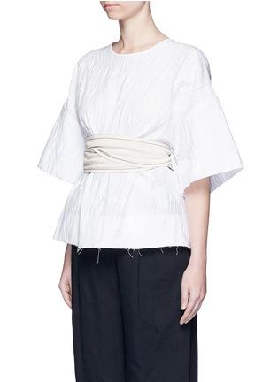 Front View - Click To Enlarge - Cédric Charlier - Waist sash polka dot jacquard kimono sleeve top