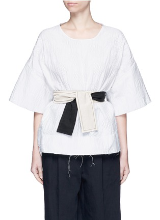 Main View - Click To Enlarge - Cédric Charlier - Waist sash polka dot jacquard kimono sleeve top
