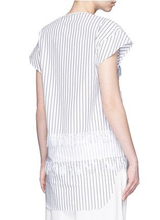 Back View - Click To Enlarge - Cédric Charlier - Fringe stripe tie neck poplin top