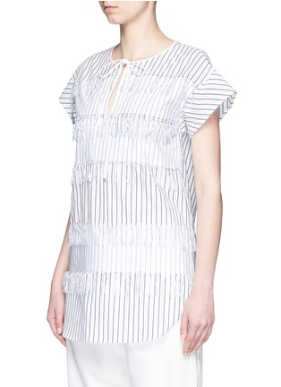 Front View - Click To Enlarge - Cédric Charlier - Fringe stripe tie neck poplin top