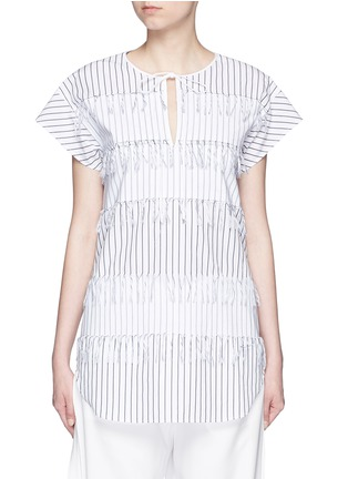 Main View - Click To Enlarge - Cédric Charlier - Fringe stripe tie neck poplin top