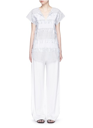 Figure View - Click To Enlarge - Cédric Charlier - Fringe stripe tie neck poplin top