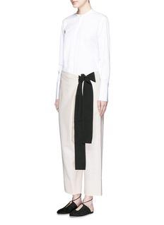 CÉDRIC CHARLIERContrast tie cotton-linen wide leg wrap pants