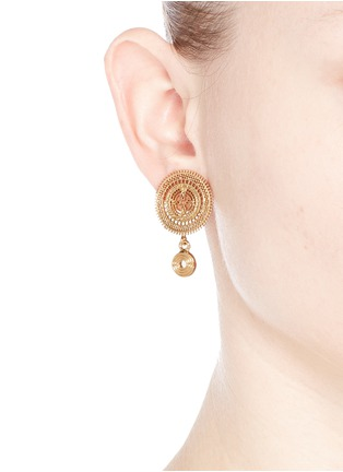 Figure View - Click To Enlarge - Chloé - 'Isaure' metal lacework earrings