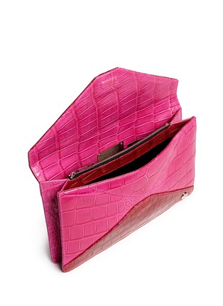 Detail View - Click To Enlarge - Stalvey - 'Adysen' colourblock alligator leather envelope clutch