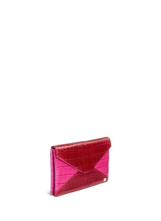 Figure View - Click To Enlarge - Stalvey - 'Adysen' colourblock alligator leather envelope clutch