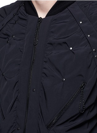 Detail View - Click To Enlarge - Maison Margiela - Stud ruched seam bomber jacket