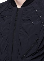 Stud ruched seam bomber jacket