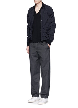 Figure View - Click To Enlarge - Maison Margiela - Stud ruched seam bomber jacket
