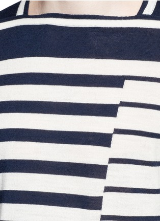 Detail View - Click To Enlarge - Maison Margiela - Mix stripe wool sweater