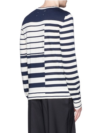 Back View - Click To Enlarge - Maison Margiela - Mix stripe wool sweater