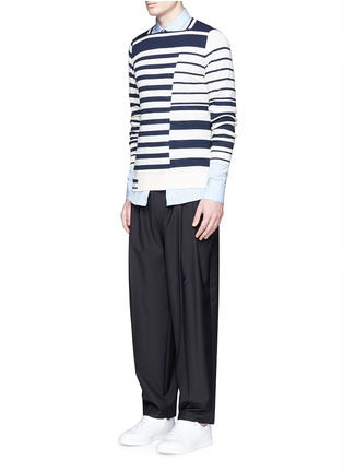 Figure View - Click To Enlarge - Maison Margiela - Mix stripe wool sweater