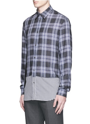 Front View - Click To Enlarge - Maison Margiela - Mixed check linen-cotton shirt