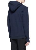 Raw edge crew neck hoodie