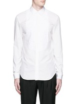 Crinkled bib poplin shirt