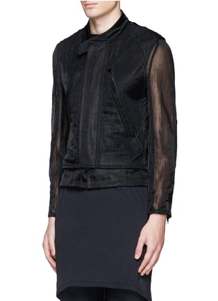 Front View - Click To Enlarge - ANN DEMEULEMEESTER - Detachable underlay sheer cropped jacket