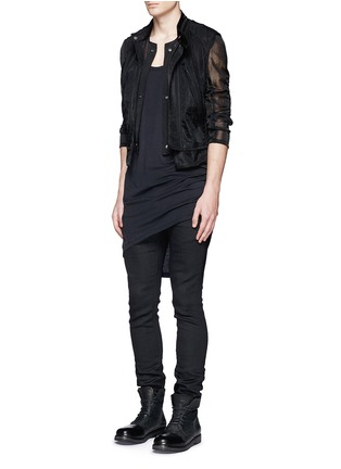 Figure View - Click To Enlarge - ANN DEMEULEMEESTER - Detachable underlay sheer cropped jacket