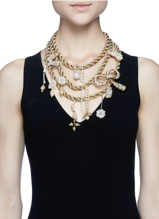 Figure View - Click To Enlarge - Erickson Beamon - Grapes of Wrath' twist glass pearl chain necklace