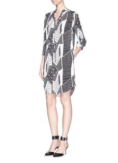 DIANE VON FURSTENBERG'Freya' ethnic print silk shirt dress