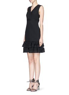 DIANE VON FURSTENBERG'Rayan Two' tulle trim ruffle crepe dress