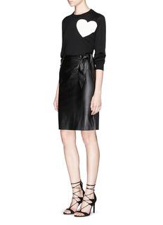 DIANE VON FURSTENBERG'Roxanne' tie waist leather combo skirt
