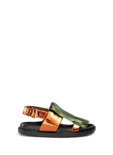 MARNI Metallic fringe panel leather sandals