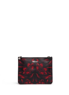 ALEXANDER MCQUEEN Mosaic tulip print double compartment leather pouch