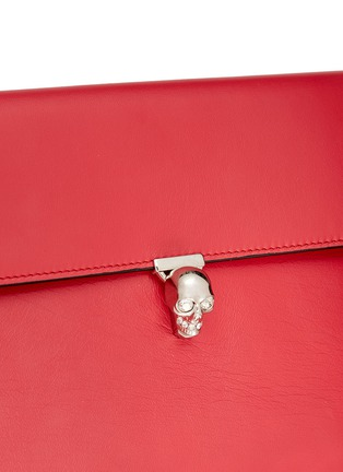 Detail View - Click To Enlarge - Alexander McQueen - Skull clasp leather envelope clutch