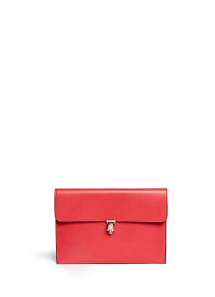 Main View - Click To Enlarge - Alexander McQueen - Skull clasp leather envelope clutch