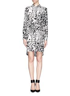 DIANE VON FURSTENBERG'Zoe' feather leopard print silk shirt dress
