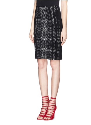 Front View - Click To Enlarge - DIANE VON FURSTENBERG - 'Panel Marta' wave check jacquard pencil skirt