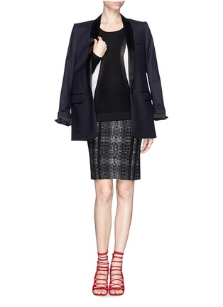 Figure View - Click To Enlarge - DIANE VON FURSTENBERG - 'Panel Marta' wave check jacquard pencil skirt
