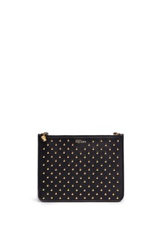 ALEXANDER MCQUEEN Stud skul charm double compartment leather pouch