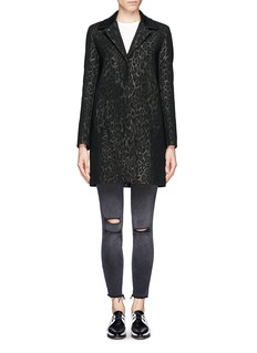 SANDRO 'Mellow' leather collar leopard print coat