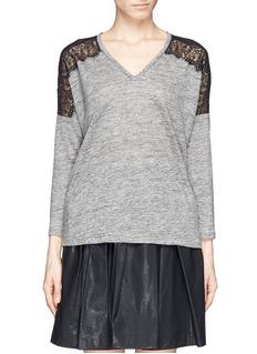 SANDRO'Tilda' lace shoulder linen T-shirt