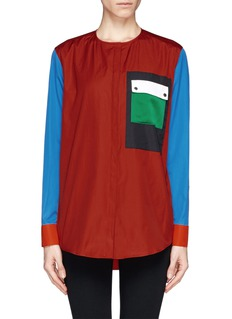 GIVENCHY Collarless colourblock shirt
