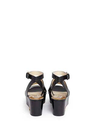 Back View - Click To Enlarge - Michael Kors - 'Poesy' platform wedge leather sandals