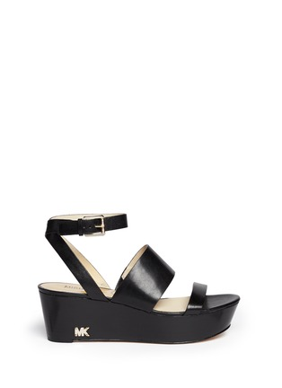 Main View - Click To Enlarge - Michael Kors - 'Poesy' platform wedge leather sandals