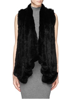 H BRAND'Audra' rabbit fur knit drape gilet