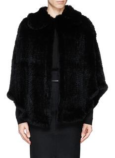 H BRAND'Rena' rabbit fur knit cape