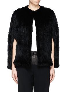 H BRAND'Stella' rabbit fur knit cape jacket