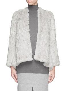 H BRAND'Emily' hand knit rabbit fur jacket