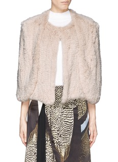 H BRAND'Tara' rabbit fur knit cape jacket