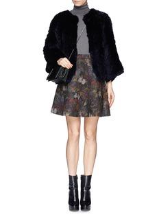 H BRAND'Jagger' chevron rabbit fur jacket