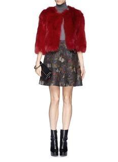 H BRAND'Miki' fox fur cropped jacket