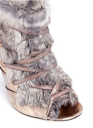 Detail View - Click To Enlarge - Jimmy Choo - 'Locke' rabbit fur metallic leather booties